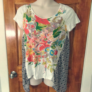 Anthropologie Little Yellow Button Boho Top